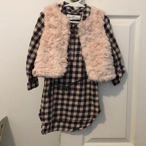 Toddler girl shirt dress with vest